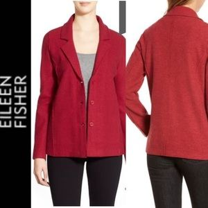 Eileen Fisher Notch Collar Wool Jacket Cardigan